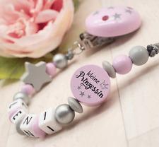 Schnullerkette mit Namen Mädchen kl Prinzessin KRONE Stern ?Baby Geschenk rosa