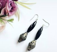 Costume Jewellery Black And Gold Tone Beaded Dangle Earrings