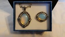 Opalite black oxidized stainless steel necklace and ring (size 6) set, NWT