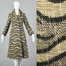 XS 1960s Christian Dior Chunky Tweed Coat Brown Black VTG Rounded Button Pockets