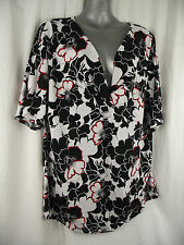 BNWT Womens Sz 24 Undercoverwear Black/White/Red Floral Print Tunic Top RRP $69
