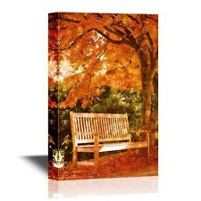 wall26 - Canvas Wall Art - Lonely Bench in Autumn - 12x18 inches