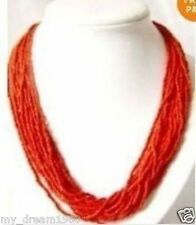 Genuine popular 2-3mm Red MULTI STRAND Tibet CORAL SEED BEAD NECKLACE
