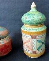 (1) Horchow Medici Large Ceramic Canister With Lid Hand Painted
