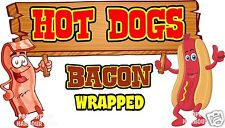 """Hot Dogs Bacon Wrapped Decal 14"""" HotDogs Concession Food Truck Vinyl Sticker"""