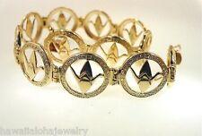 "Hawaiian 14k Yellow Gold Sadako Peace Crane Wing Down Origami Bracelet 7"" #4M"
