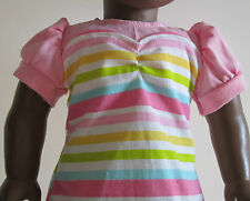 Pink & Multi-Color Stripe Dress & Purse with Floral Print Lace fit American Girl