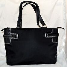 Ann Taylor Black Canvas with Leather Trim & Dual Straps Shoulder Bag