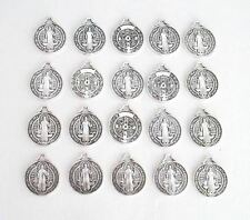 Lot 20 Saint St. Benedict Charms Holy Medals ~ SILVER finish