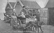 VOLENDAM NETHERLANDS DOG CART POSTCARD (c. 1910)
