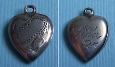 """Vintage mini etched puffy heart """"Lila"""" sterling charm"""