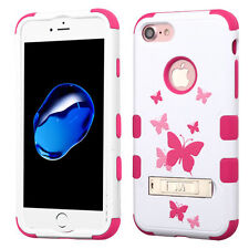 Apple iPhone 8 7 Butterfly Hybrid Rugged Shockproof Hard Cover Case with Stand