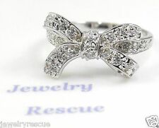 Delicate Cubic Zirconia CZ Bow Ring ~ .925 Sterling Silver ~ Size 9 NEW