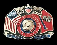 UNITED STATES FLAG MARINES NAVY FORCE BULL DOG BELT BUCKLE BUCKLES