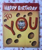 Vintage MCM UNUSED Die-Cut Birthday Greeting Card Cute Mouse Swiss Cheese