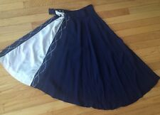 Vintage 1940s Navy n White w Silver Accent Skirt Art Deco Retro Pinup Swing
