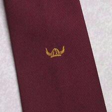 Vichingo Elmo Crest Motivo Cravatta Vintage club associazione società Borgogna 1990s