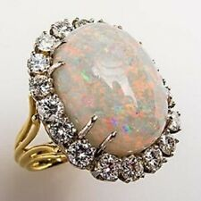 Yellow Gold over 925 Sterling Silver Opal & CZ Split Shank Unique Cocktail Ring
