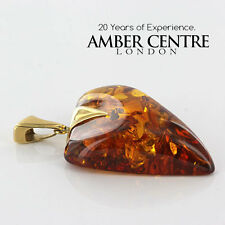 Cognac Baltic Amber Heart Shaped Pendant with 14ct Italian Gold RRP£1500!!GP0444