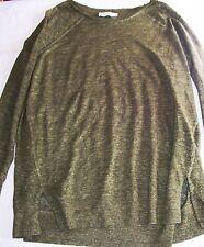 Next Premium Round Neck Top khaki dark green 100% linen long sleeved Size 16 vgc
