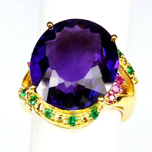 AMETHYST CHANGE PURPLE 15.90 CT. RUBY GARNET 925 STERLING SILVER GOLD RING SZ 6