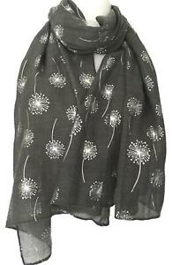 Grey Floral Scarf Silver Flowers Charcoal Wrap Ladies Foil Dandelion Flower New