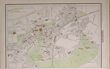 1897 VICTORIAN ANTIQUE MAP HARROGATE CITY PLAN COLLEGE SPA CHURCH HYDROPATHIC