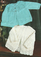 "Lacy  & Flower ~ Yoked Baby Matinee Coats 16 -  20"" ~  DK  Knitting Pattern"