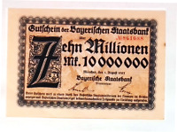 1923 Germany BAVARIA  10.000.000 / 10 Million Mark Banknote