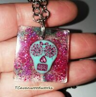 sugar skull necklace pendant Resin glitter casted stainless chain Halloween Goth