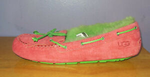 New UGG Mandy Pink Suede & Green Shearling UGGpure Moccasin Slippers Size 7