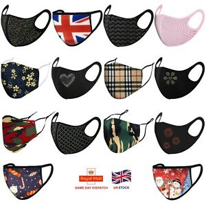 Face Mask Breathable Face Covering UK Virus Protection Cover Washable Reusable