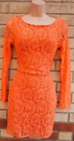 BURNT ORANGE LACE LONG SLEEVE HALF BACKLESS BODYCON PENCIL PARTY DRESS S 8 10