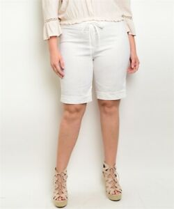 Womens Plus Size Ivory White Linen Shorts 2XL New