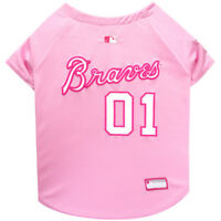 Atlanta Braves MLB Officially Licensed Dog Pet Girl Pink Jersey Sizes XS-L