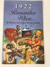 1922 Remember When Book Seek Publishing Memories News Price Index Ads Birthday