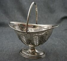 Henry Atkins 1899 Sheffield PIERCED REPOUSSE STERLING BASKET with HANDLE