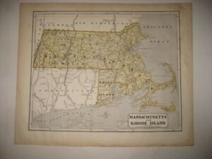 LARGE RARE EARLY ANTIQUE 1845 MASSACHUSETTS RHODE ISLAND MAP BARNSTABLE COUNTY