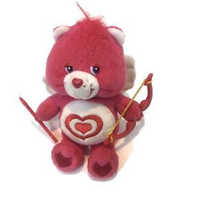 Care Bears Plush All My Heart Pink Bear Small Valentine 2005 Arrow Bow Cupid