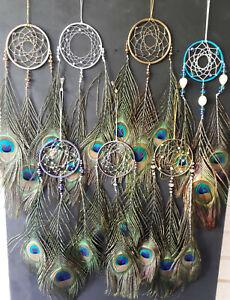 Peacock Dream Catcher 7cm (3inch) Hoop, Handmade in UK