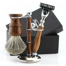 Old World Wet Shave Kit with Razor & Barber Brush Pure Wood Travel Shaving Set