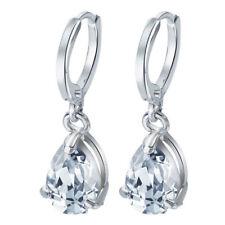 EPIC VAULT- White Sapphire Drop Hoop Earrings