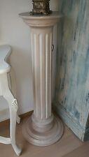 BLUMENSÄULE Dekosäule Blumenständer massiv Holz Säule Deko Sockel weiß creme