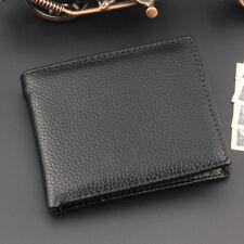 Black Men Slim Leather Coin Zipper Pocket Wallet Bifold Credit Card Holder
