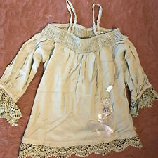 Beautees Green Lacy Top w/ Owl Necklace - Girls Size L - Nwt - Paid $36 - Wow
