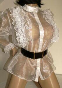 chemisier T48/50 en voila blanc organza jabot dentelle bluse blouse 4xl 408/