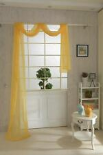 550*80cm Yellow Solid Tulle Door Window Voile Treatment Curtain Swag Scarf