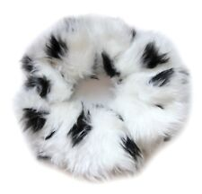 Snow Leopard Faux Fur Fluffies Large Scrunchie Hair Band 90s Style Handmade UK