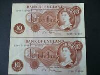 1967 B310 FFORDE PAIR TEN SHILLING 10/- NOTES CONSECUTIVE NUMBERS EXTREMELY FINE