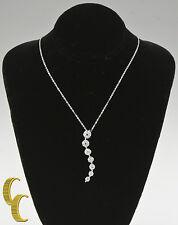 14k Oro Blanco Diamante Ondulado Colgante 40.6cm rolo cadena